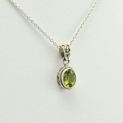Sterling Silver Peridot Bali Necklace