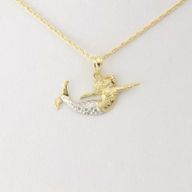 14k Gold Two Tone Norfolk Mermaid Pendant