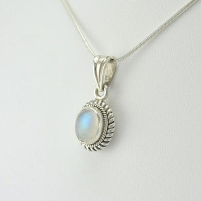 Sterling Silver Rainbow Moonstone Oval Pendant