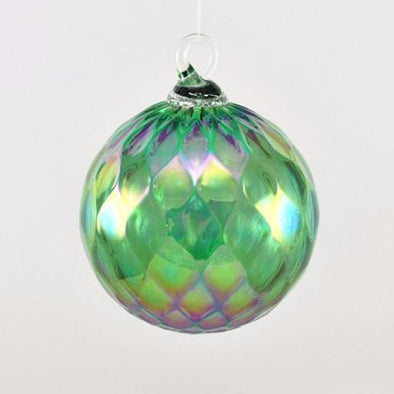 Glass Eye Classic Ornament Green Diamond Facet