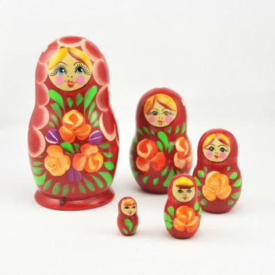 Red Lady with Orange Flowers Russian 5 Doll Nesting Set