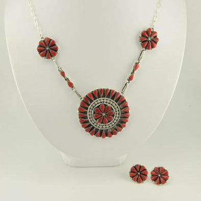 Sterling Silver Red Coral Zuni Necklace and Earring Set