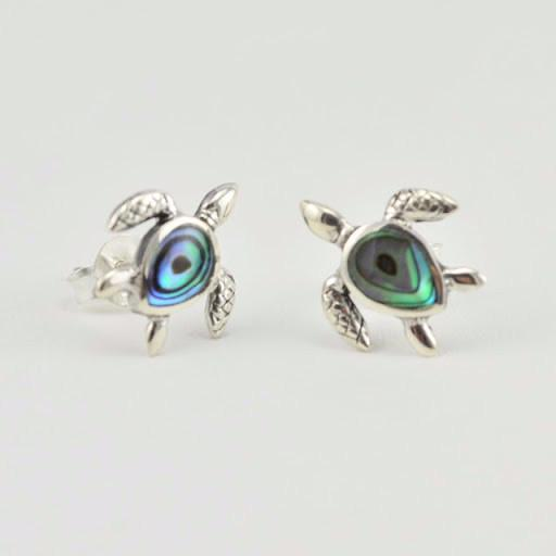 Sterling Silver Abalone Sea Turtle Post Earrings