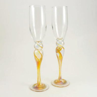 Pair of Gold Champagne Flutes