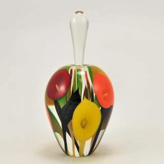 Glass Tall Red Orange and Yellow Calla Lily Perfume Bottle