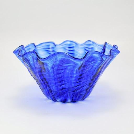 Glass Cobalt Ripple Large Floppy Bowl