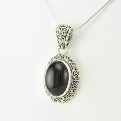 Sterling Silver Black Onyx Oval Pendant