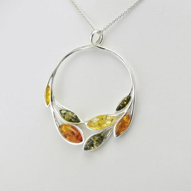 Sterling Silver Multicolored Baltic Amber Circle Pendant