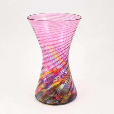 Cranberry Rainbow Hourglass Vase