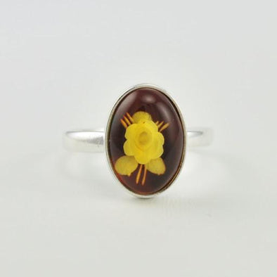 Sterling Silver Baltic Amber Intaglio Rose Ring