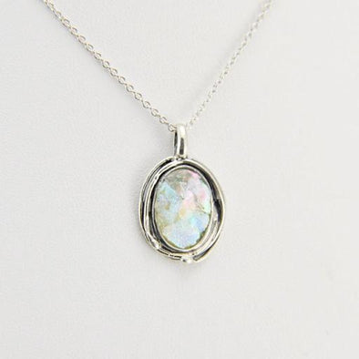 Sterling Silver Roman Glass Oval Pendant