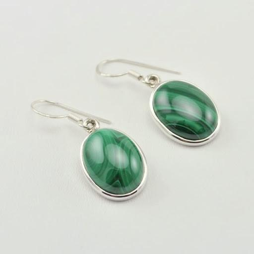 Sterling Silver Malachite Oval Dangle Earrings