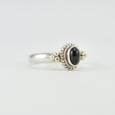 Sterling Silver Black Star Diopside Oval Ring