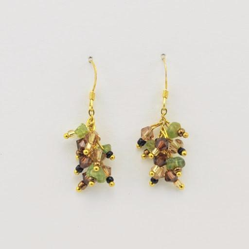 Vermeil Peridot Multicolored Crystal Dangle Earrings