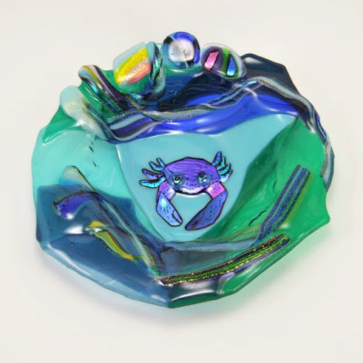 Fused Glass Blue Crab Bowl