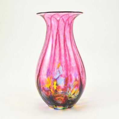 Glass Cranberry Mosaic Vase