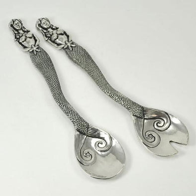 Pewter Mermaid Salad Servers