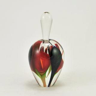 Glass Mini Tall Red Calla Lily Perfume Bottle