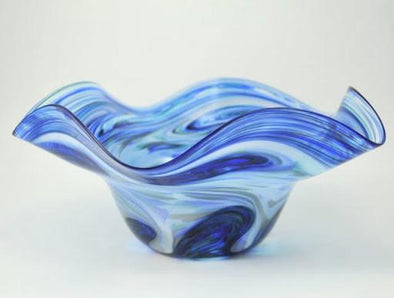 Glass Medium Ocean Blue Wavy Bowl