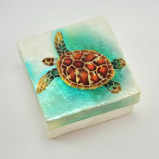 Large Sea Turtle Capiz Shell Box