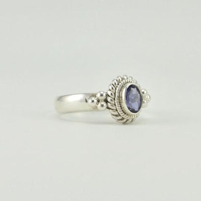 Sterling Silver Iolite 4x6mm Oval Ring
