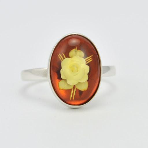 Sterling Silver Baltic Amber Intaglio Carved Rose Ring