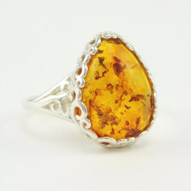 Sterling Silver Scroll Baltic Amber Tear Ring