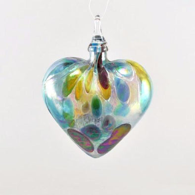 Glass Eye Heart Ornament Opal Confetti