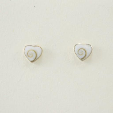 Sterling Silver Shiva Shell Heart Post Earring