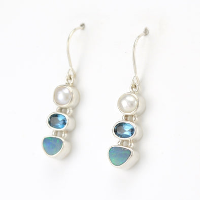 Silver Pearl Topaz Opal Earrings