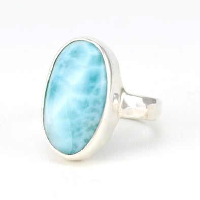 Side View Silver Larimar Long Oval Ring