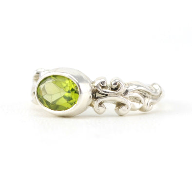 Silver Peridot 5X7mm Oval Ring