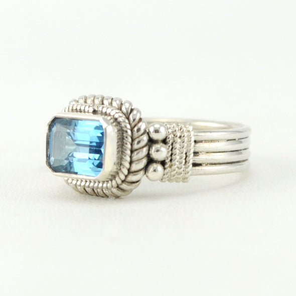Silver Blue Topaz 6x8mm Rectangle Ring