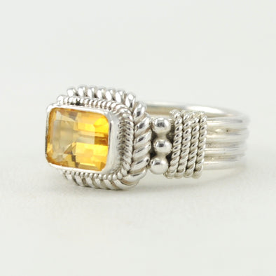 Silver Citrine 6x8mm Rectangle Ring