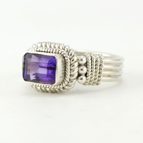 Sterling Silver Amethyst 6x8mm Rectangle Ring