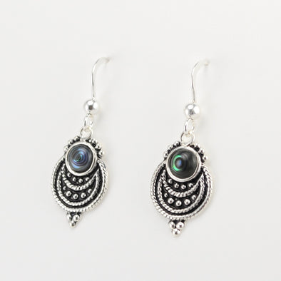 Sterling Silver Round Abalone Dangle Earrings