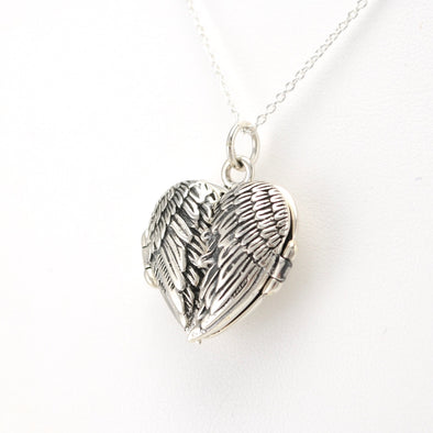 Side View Silver Angel Wing Heart Locket