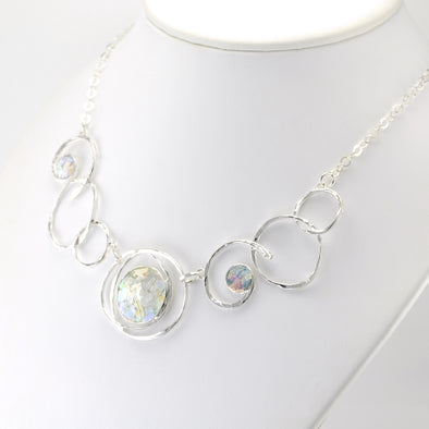 Silver Roman Glass 3 Circle Swirl Necklace