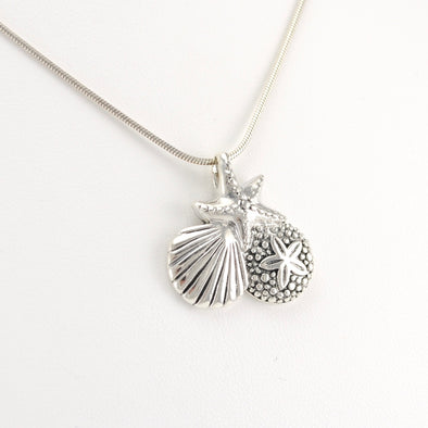 Side View Silver Sea Life 18 Inch Necklace