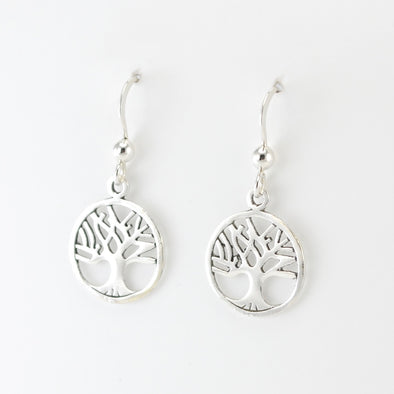 Silver Circle Tree of Life Dangle Earrings