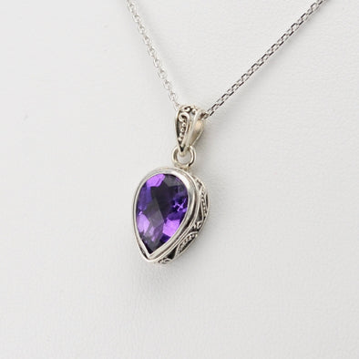 Silver Amethyst 7x11mm Pear Bali Necklace