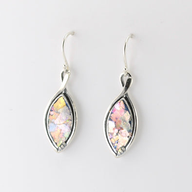 Silver Roman Glass Marquise Dangle Earrings