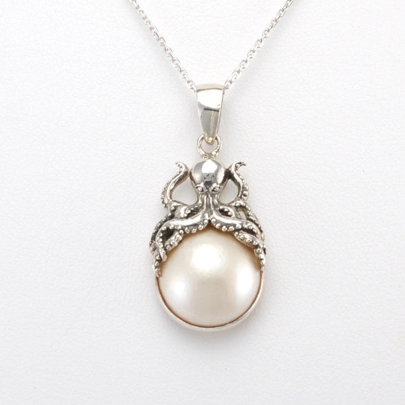 Silver Mabé Pearl Octopus Necklace