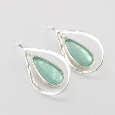 Silver Roman Glass Tear in Silver Tear Dangle Earring
