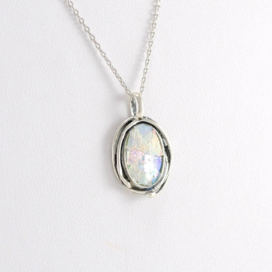 Silver Ancient Roman Glass Oval Pendant
