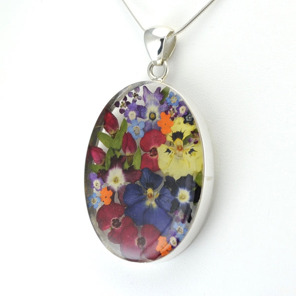 Silver Multi Flower Oval Pendant