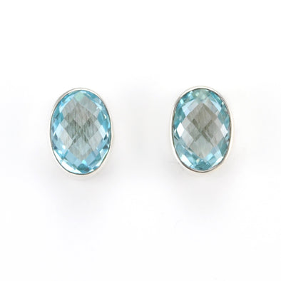 Silver Blue Topaz Oval Post Earrings