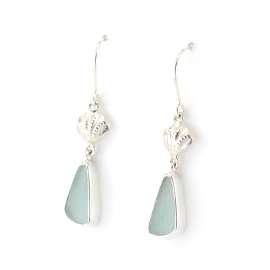 Silver Seashell Aqua Sea Glass Earrings