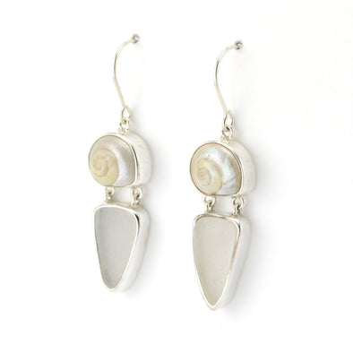 Silver Malabar Shell Sea Glass Earrings