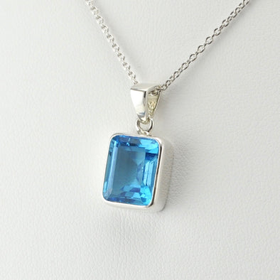 Silver Blue Topaz 9x11mm Rectangle Necklace